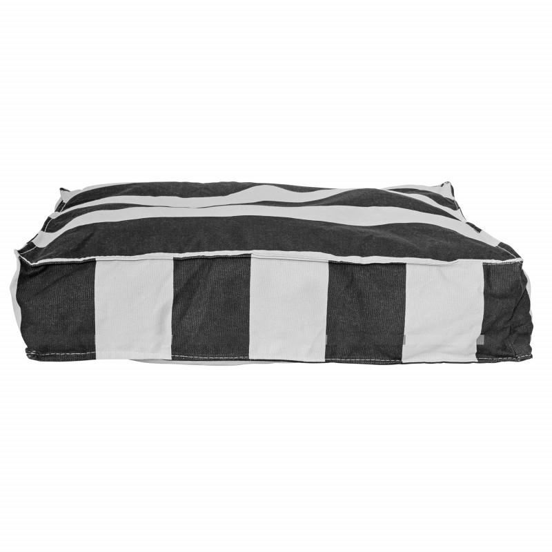 Bloomingville Sitzkissen Blockstreifen mit Inlett Kissen schwarz weiß gestreift 50x50