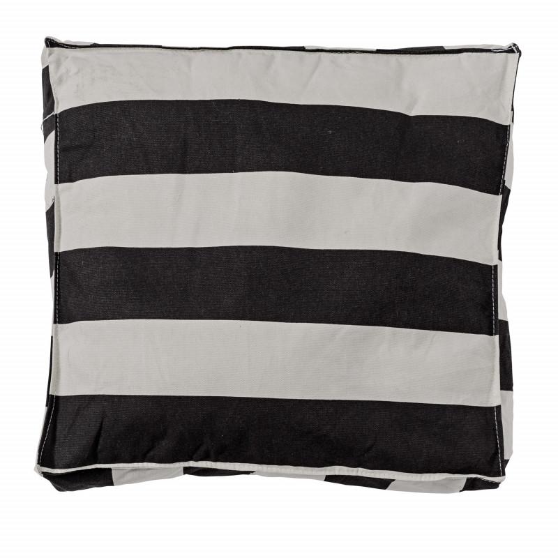 Bloomingville Sitzkissen schwarz weiß Streifen Kissen 50x50 mit Füllung