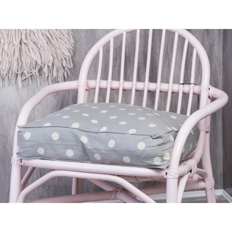 Bloomingville Stuhlkissen grau mit weißen Punkten Sitzkissen mit Füllung hellgrau