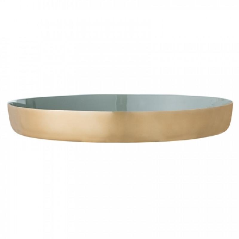 Bloomingville Tablett gold grün Aluminium 30 cm