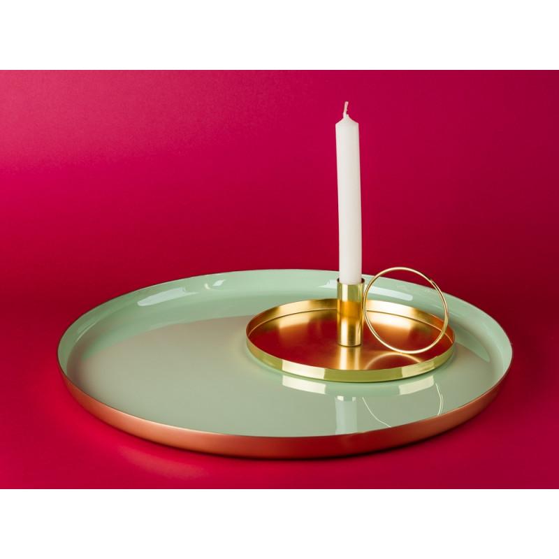 Bloomingville Tablett gold grün mit Kerzenhalter gold rund Kammerleuchte