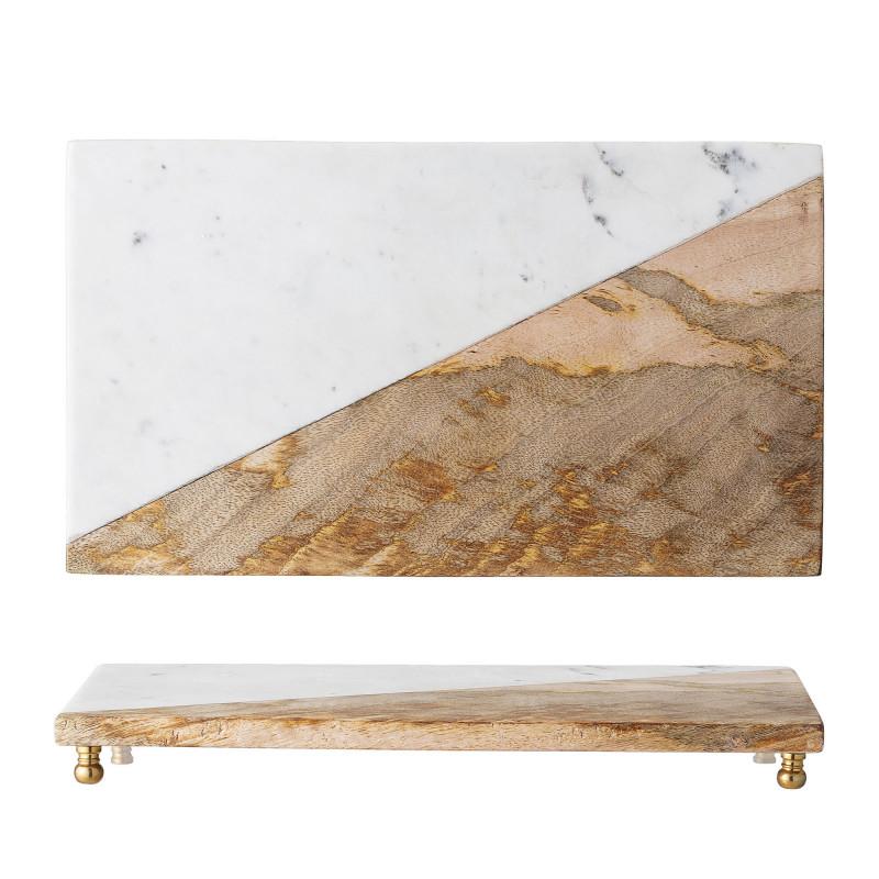 Bloomingville Tablett Marmor  Mango Holz Messing Füsse 20 x 35 cm Tapasbrett Servierbrett Bloomingville Produkt Nummer 82047722