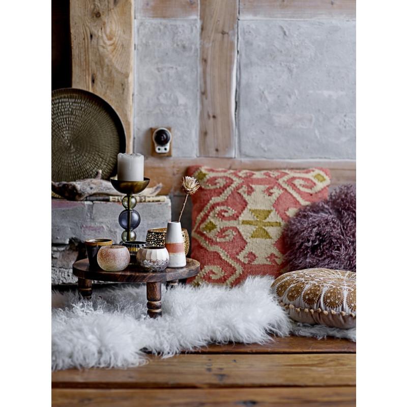 Bloomingville Tablett Pedestal rund Mango Holz auf Füssen als Beiselltisch mit Fell und Kissen