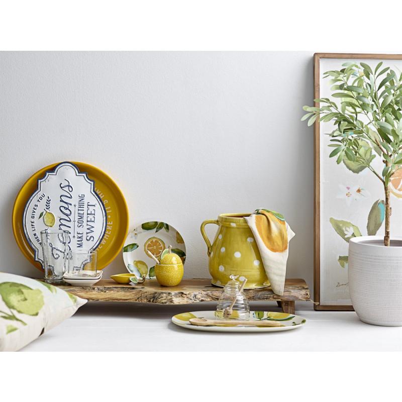Bloomingville Tablett Pedestal XL Unikat aus Holz Länge 92 cm als Erhöhung Dekoration Küche mit Zitronen