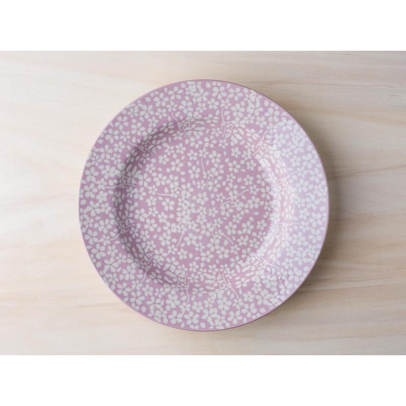 Bloomingville Teller Seeke Suppenteller in rosa mit weißem Blumen Design