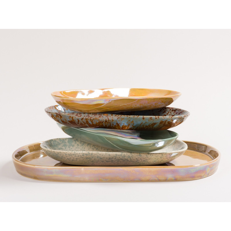 Bloomingville Teller und Tablett Art Deco Geschirr Serie Paula aus Keramik