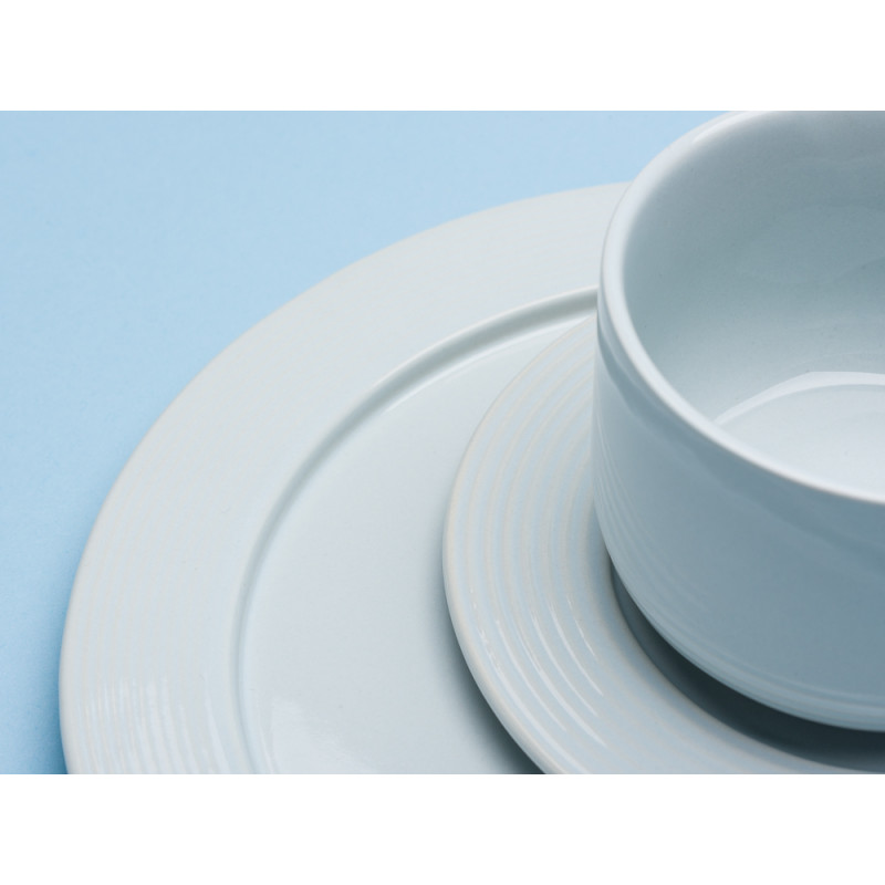 Bloomingville Teller und Tasse Ice weiß Keramik Kuchenteller Untertasse eis blau Detail