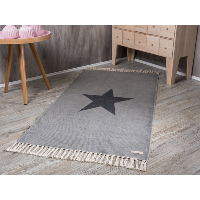 bloomingville rug star print light grey teppich in. Black Bedroom Furniture Sets. Home Design Ideas