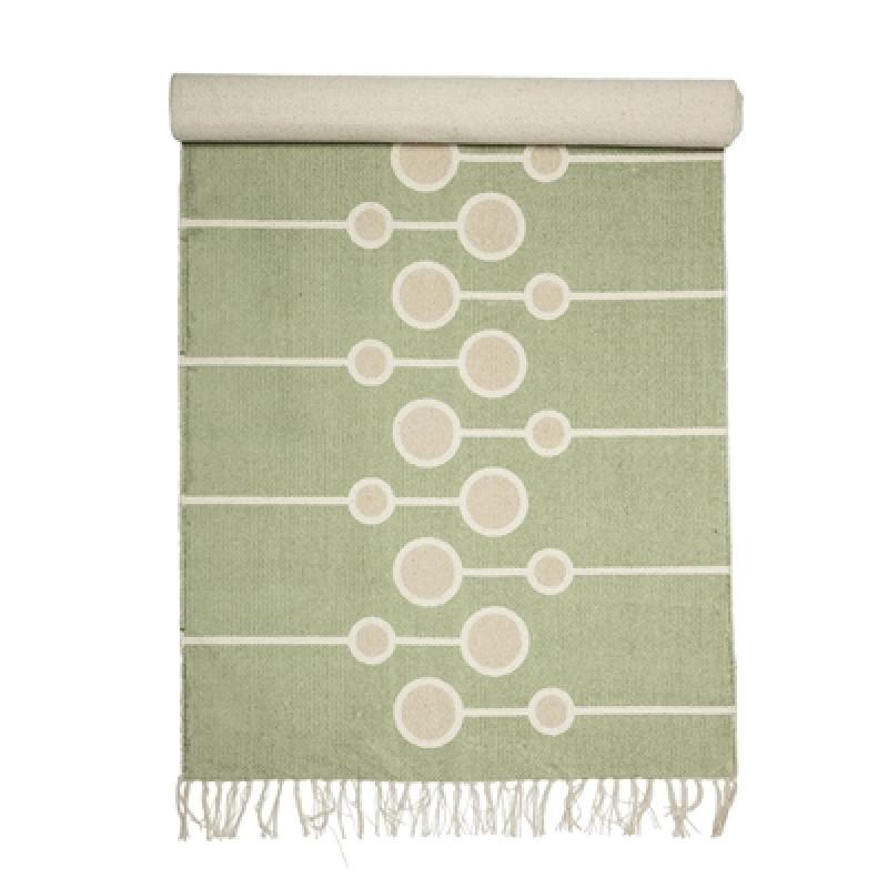 Bloomingville Teppich grün mit Kreisen 70x200 cm aus Baumwolle