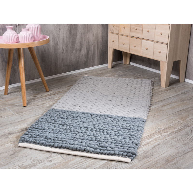 Bloomingville Teppich hellgrau dunkelgrau mit Blockstreifen aus Wolle Rug mit Apothekerschrank