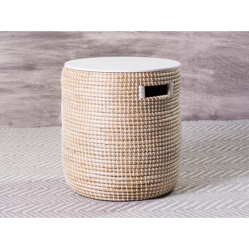 Bloomingville Tisch Seegras Korb natur mit Deckel in weiß großer Beistelltisch mit Staufach 35x38 cm
