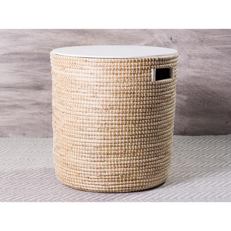 Bloomingville Tisch Seegras Korb natur mit Deckel in weiß großer Beistelltisch mit Staufach 46x50 cm