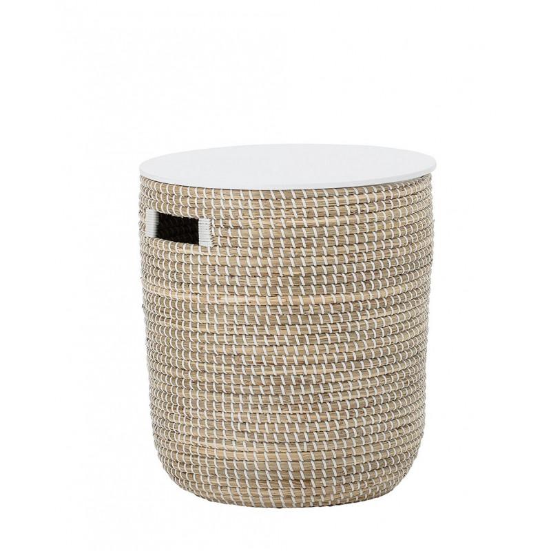 Bloomingville Tisch Seegras Korb natur mit Deckel in weiß Beistelltisch mit Stauraum 35x38 cm