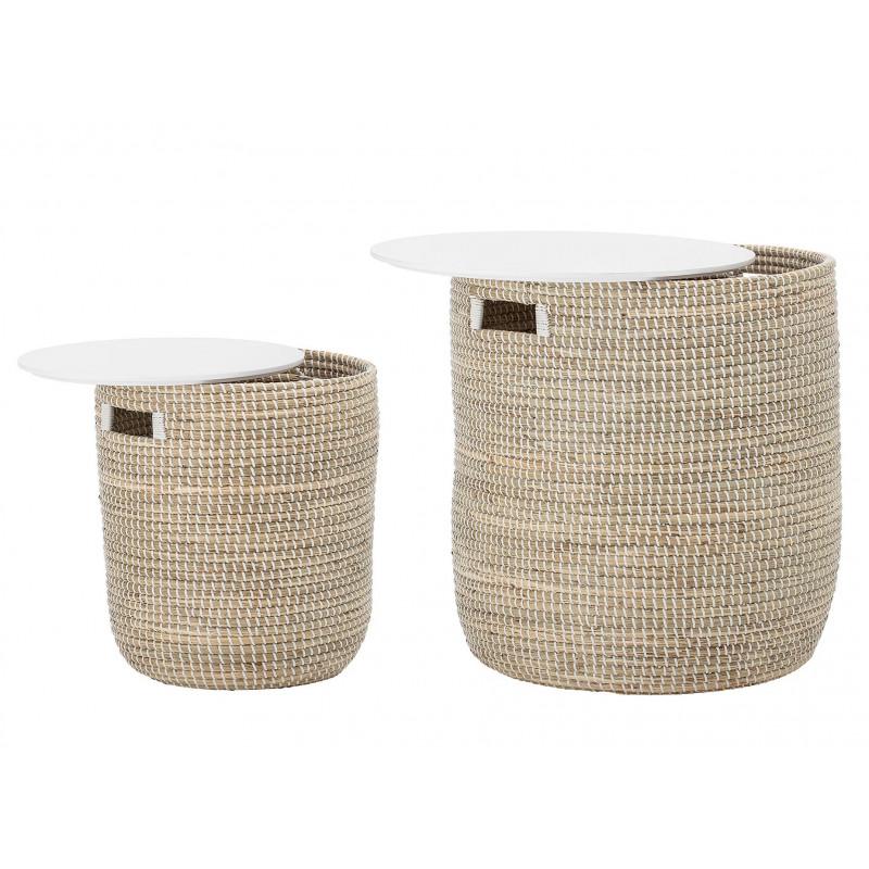 Bloomingville Tisch Seegras mit Stauraum Deckel weiß 2er Set Beistelltische