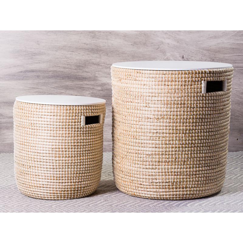 Bloomingville Tisch Set Seegras Korb natur mit Deckel in weiß Beistelltische mit Staufach Gruppe Vergleich