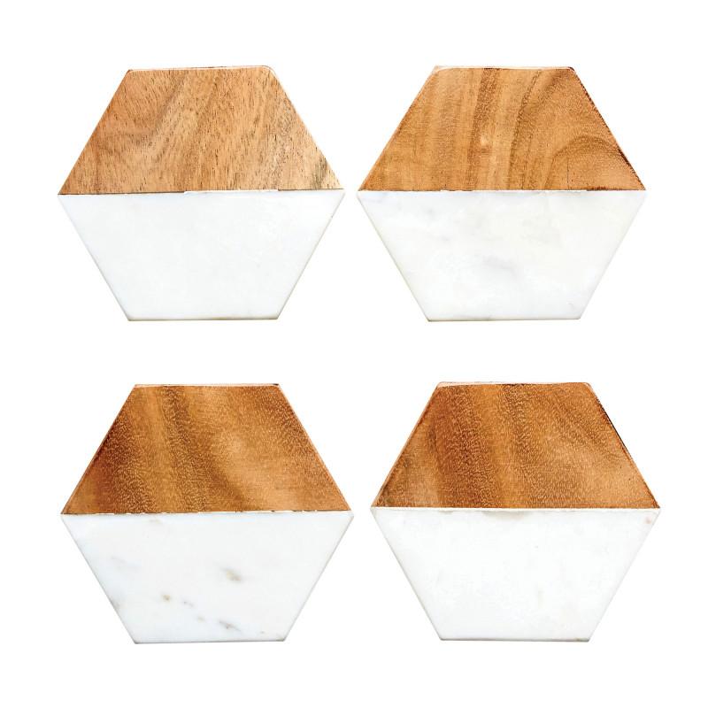 Bloomingville Untersetzer Fleur de Sel 4er Set Coaster aus Marmor Holz 6 eckige Form