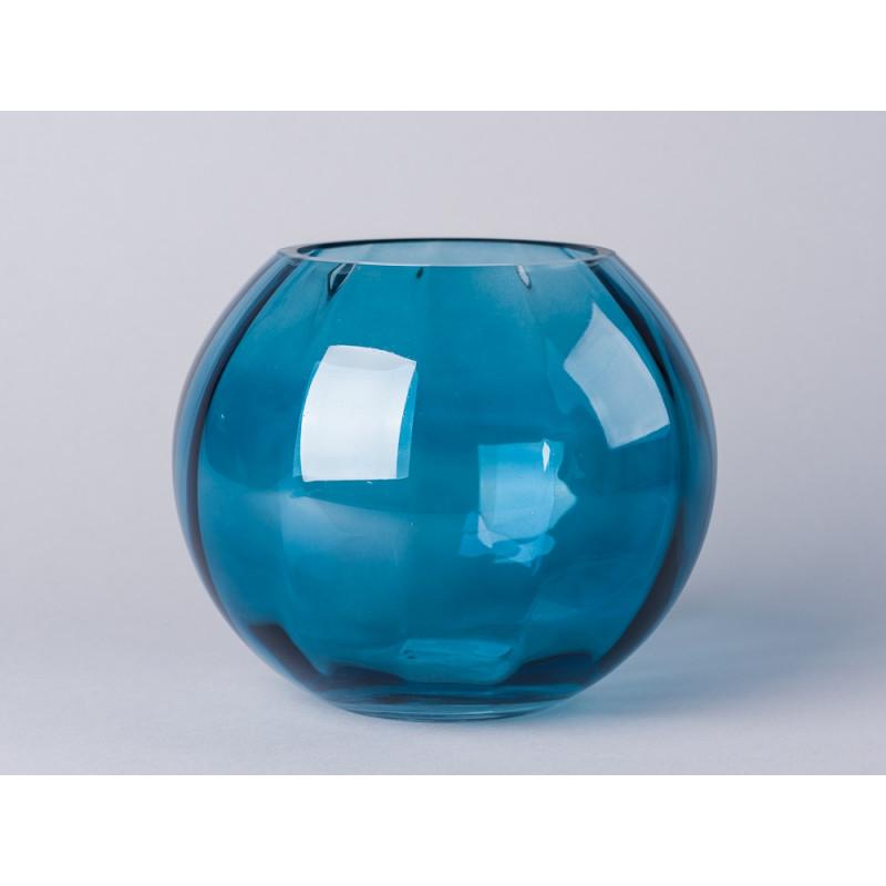Bloomingville Vase blau Blumenvase aus Glas 15 cm hoch