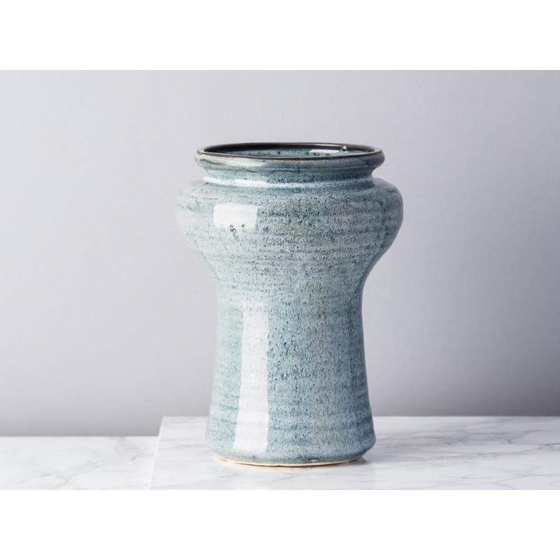 Bloomingville Vase Blau Grau Keramik 19 cm hoch Design Muster Blumenvase rustikal Modern