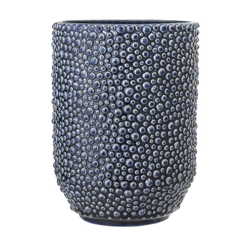 Bloomingville Vase Blau Keramik 23 cm hoch Blumenvase mit Punkt Struktur fühlbar