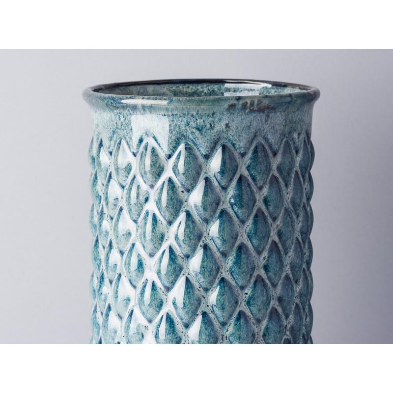 Bloomingville Vase Blau Keramik schlank Zylinder 30 cm hoch Blumenvase mit Karo Design erhaben Detail