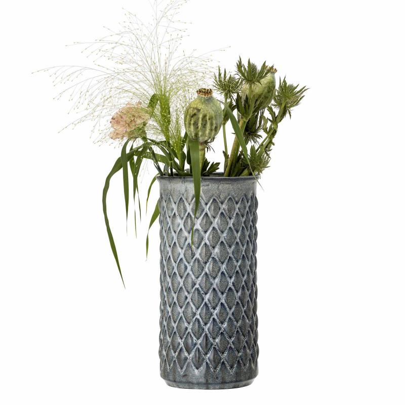 Bloomingville Vase Blau Keramik schlank Zylinder Form 30 cm hoch Blumenvase mit Karo Design fühlbar