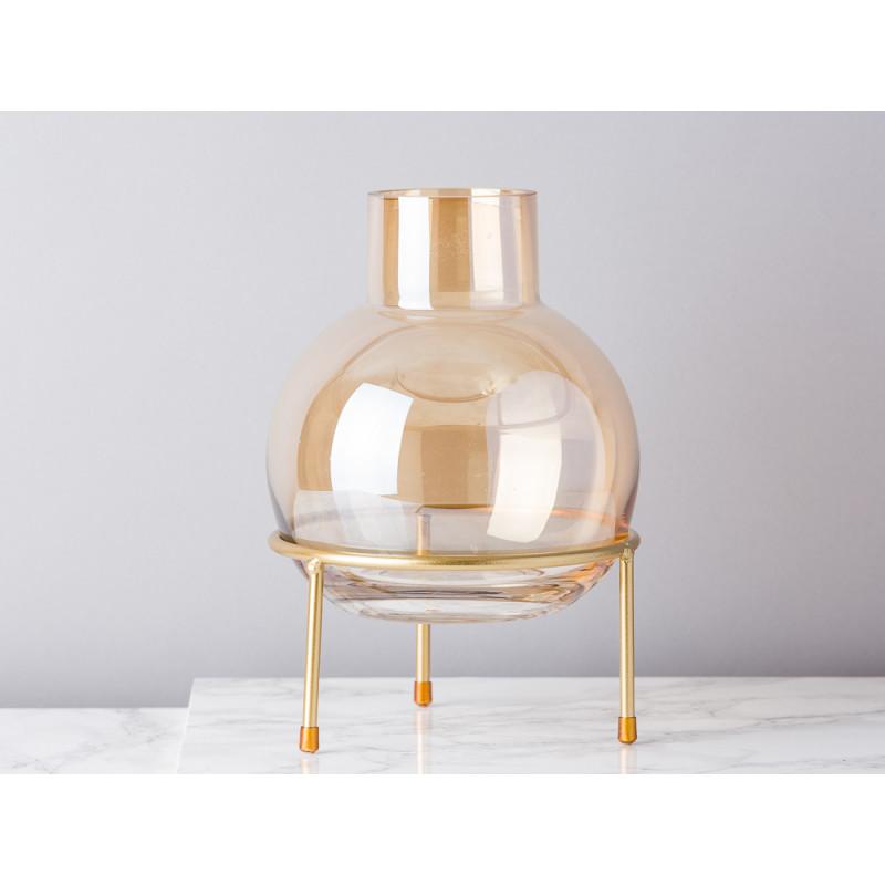 Bloomingville Vase Braun Orange Glas Kugel auf 3 Bein Ständer in gold Blumenvase 23 cm hoch