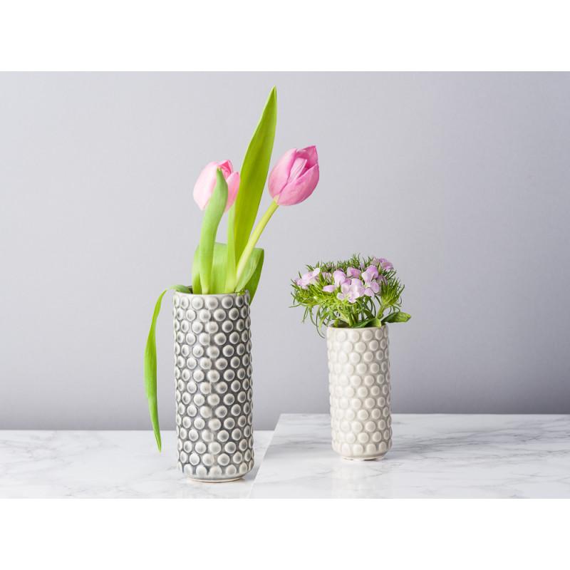 Bloomingville Vase dunkelgrau und hellgrau grau rund mit erhabenen Punkten 9 und 13 cm hoch Blumenvase aus Keramik