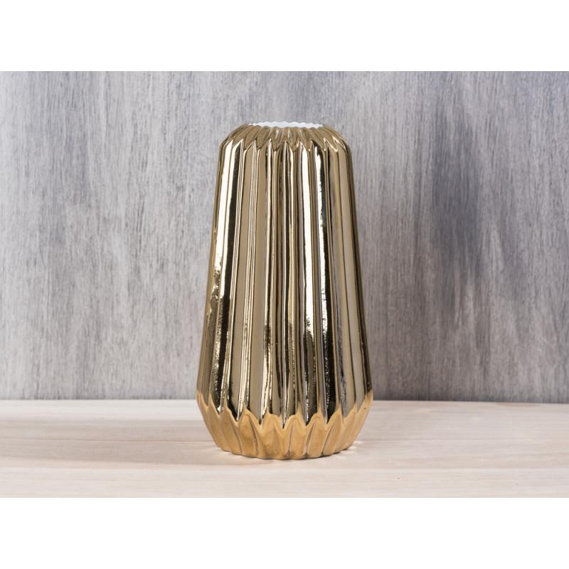 Bloomingville Vase fluted gold konisch aus Porzellan mit Rillen 18 cm groß