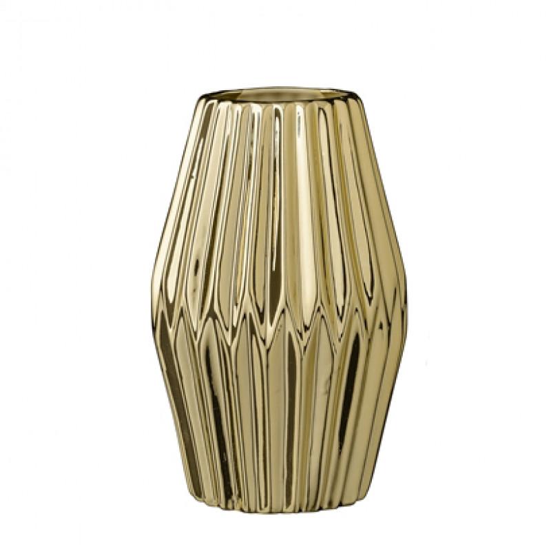 bloomingville vase fluted gold porcelain gold farbige blumenvase aus porzellan h he 16 cm. Black Bedroom Furniture Sets. Home Design Ideas