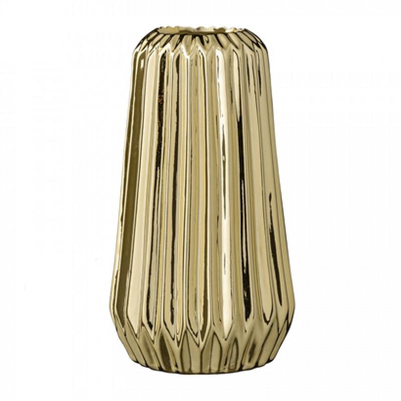 Bloomingville Vase Fluted Gold Porcelain goldene Porzellan Blumenvase Höhe 18 cm