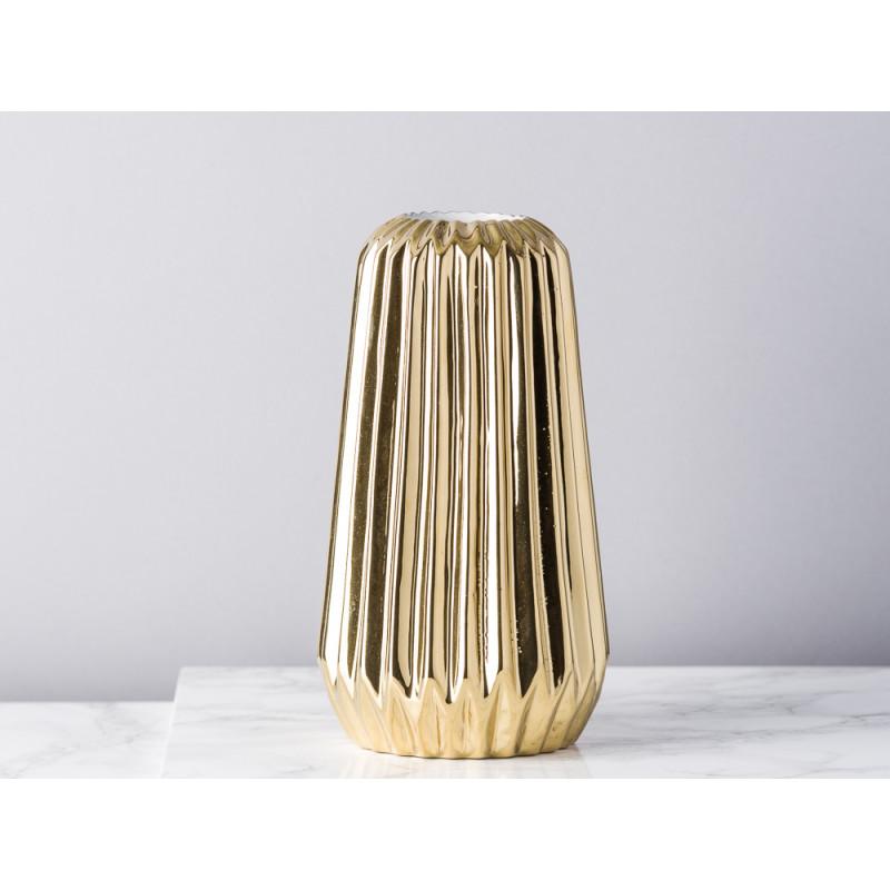 Bloomingville Vase Fluten gold glänzend konisch aus Porzellan mit Rillen 18 cm hoch Blumenvase
