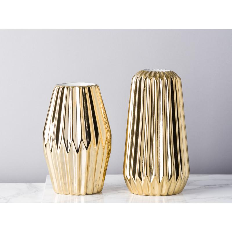 Bloomingville Vase Fluten gold glänzend Rhombus und konisch aus Porzellan mit Rillen Blumenvase Keramik Dekoratio