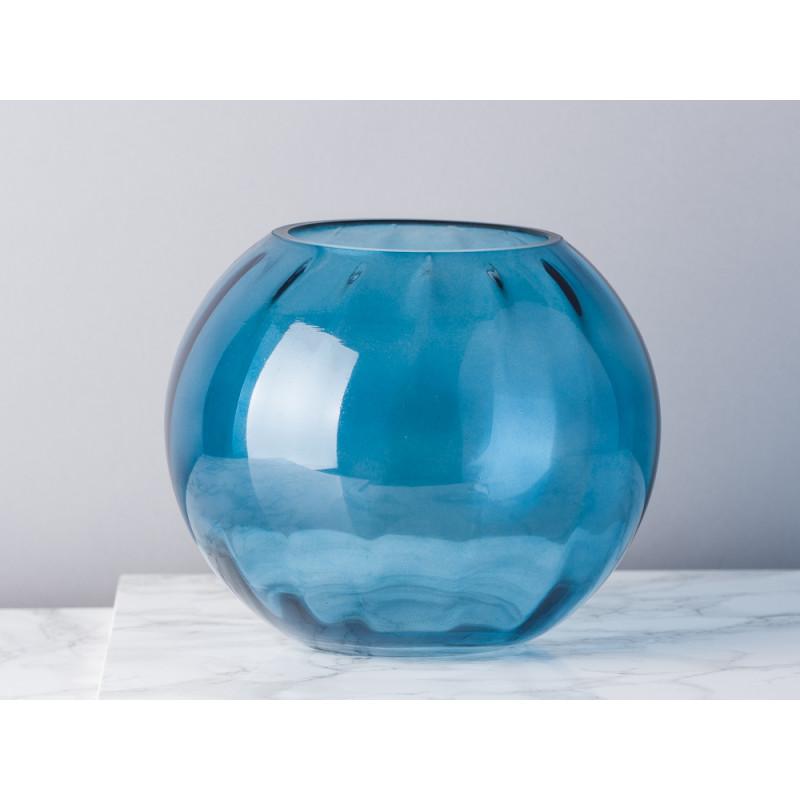 Bloomingville Vase Glas blau 15 cm hoch und rund Blumenvase