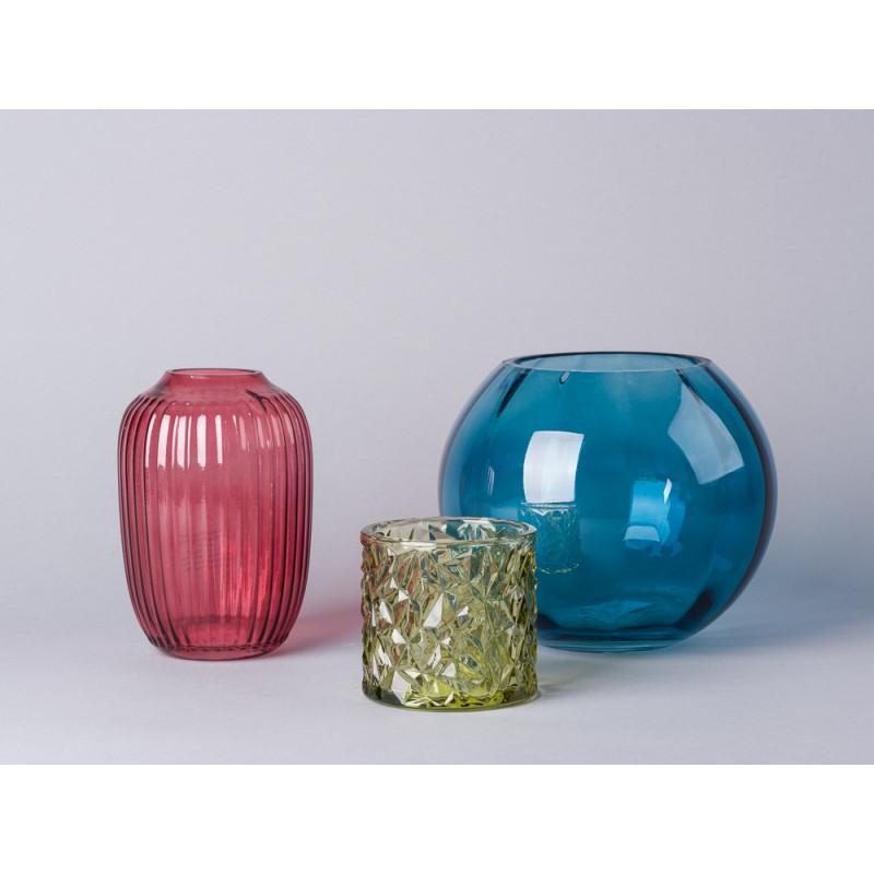Bloomingville Vase Glas blau und Vase rot Kerzenhalter Votive grün