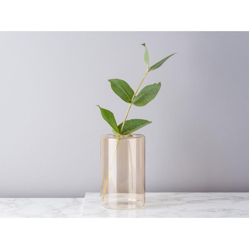 Bloomingville Vase Glas Braun Beige Blumenvase Zylinder 16 cm hoch Durchmesser 10 cm rund Design Modern für eine Blume mit Eukalyptus