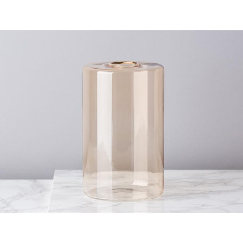 Bloomingville Vase Glas Braun Beige Blumenvase Zylinder 16 cm hoch Durchmesser 10 cm rund Design Modern