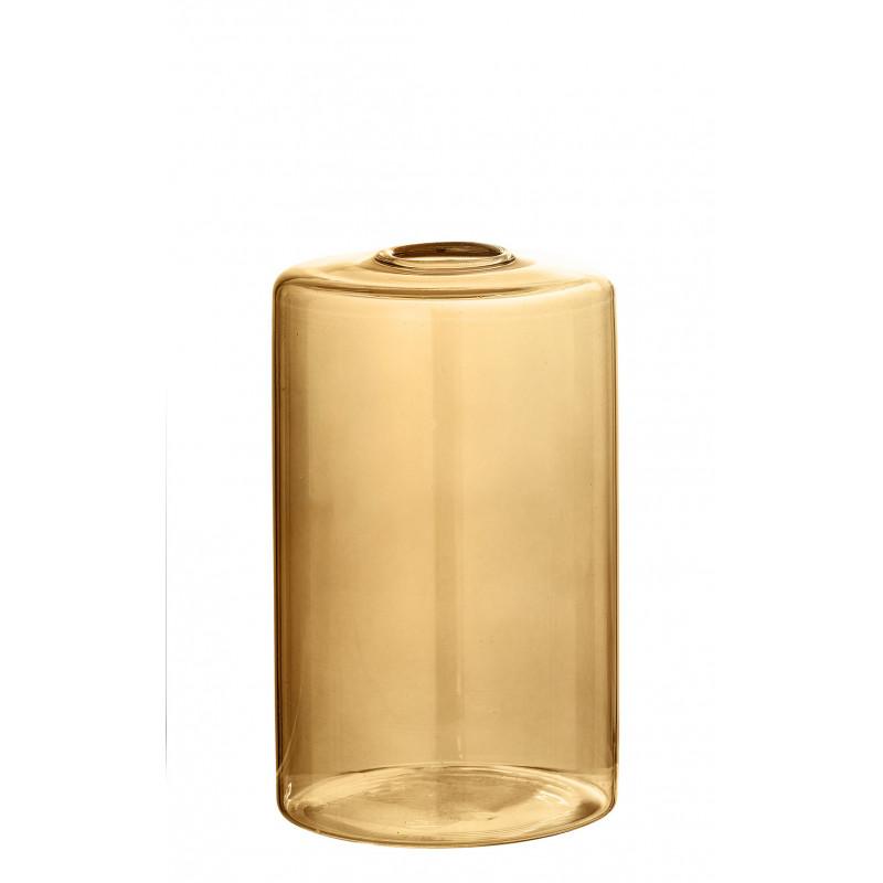 Bloomingville Vase Glas Braun Blumenvase Zylinder Form 13 cm hoch Durchmesser 8 cm rund