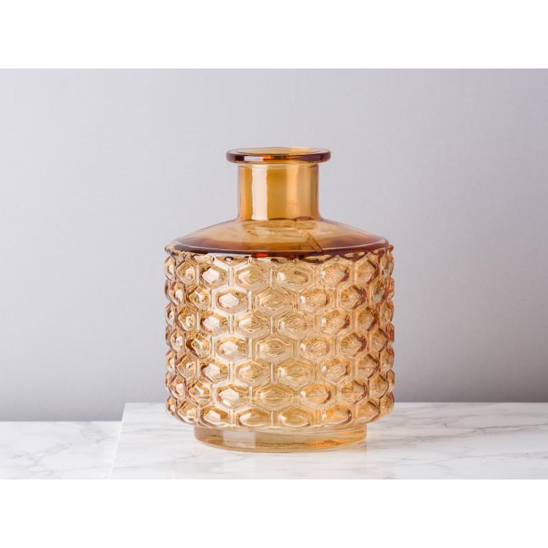 Bloomingville Vase Glas braun orange 19 cm hoch Waben Design Muster erhaben Blumenvase Modern Dekoration