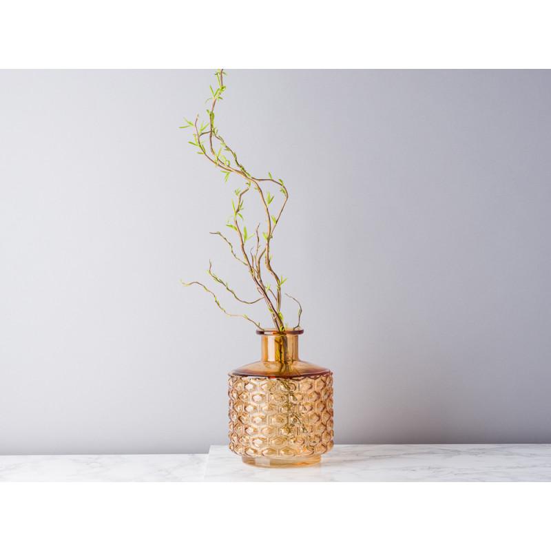 Bloomingville Vase Glas braun orange 19 cm hoch Waben Design Muster erhaben Blumenvase Modern dekoriert mit Zweigen