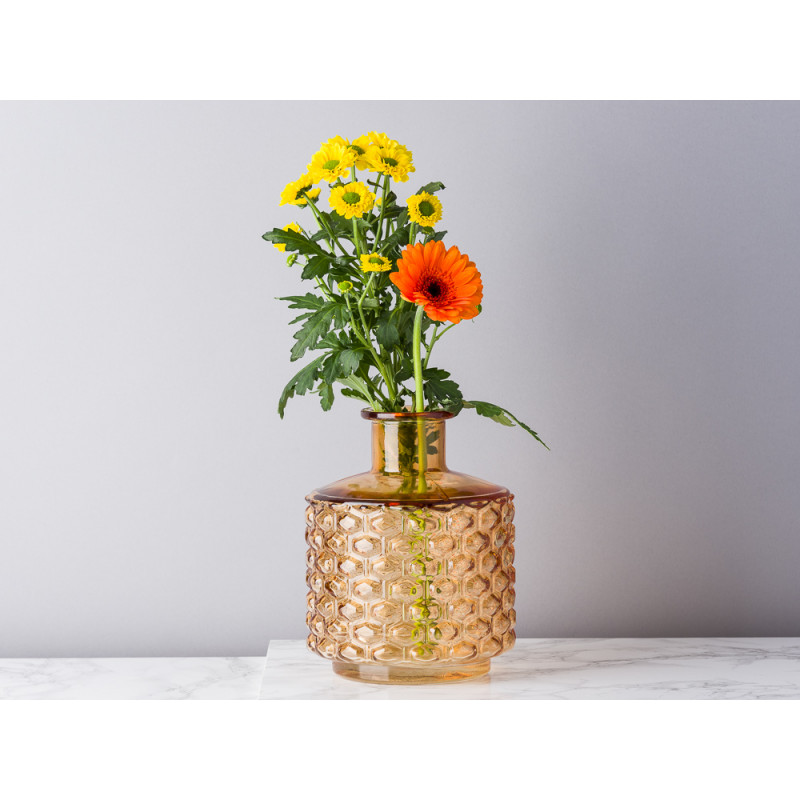 Bloomingville Vase Glas braun orange Waben Design Top Modern