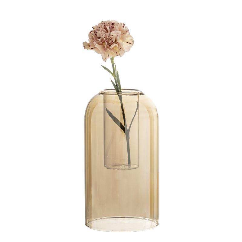 Bloomingville Vase Glas Dom braun 23 cm hoch Blumenvase Glas im Glas