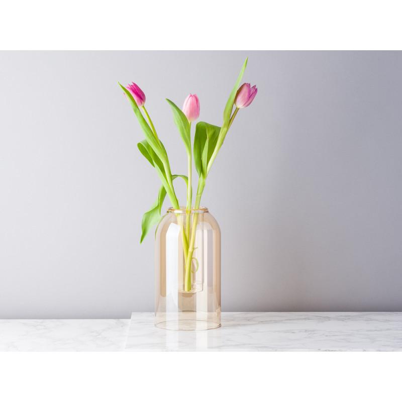 Bloomingville Vase Glas Dom braun beige 23 cm hoch Blumenvase dekoriert mit Tulpen