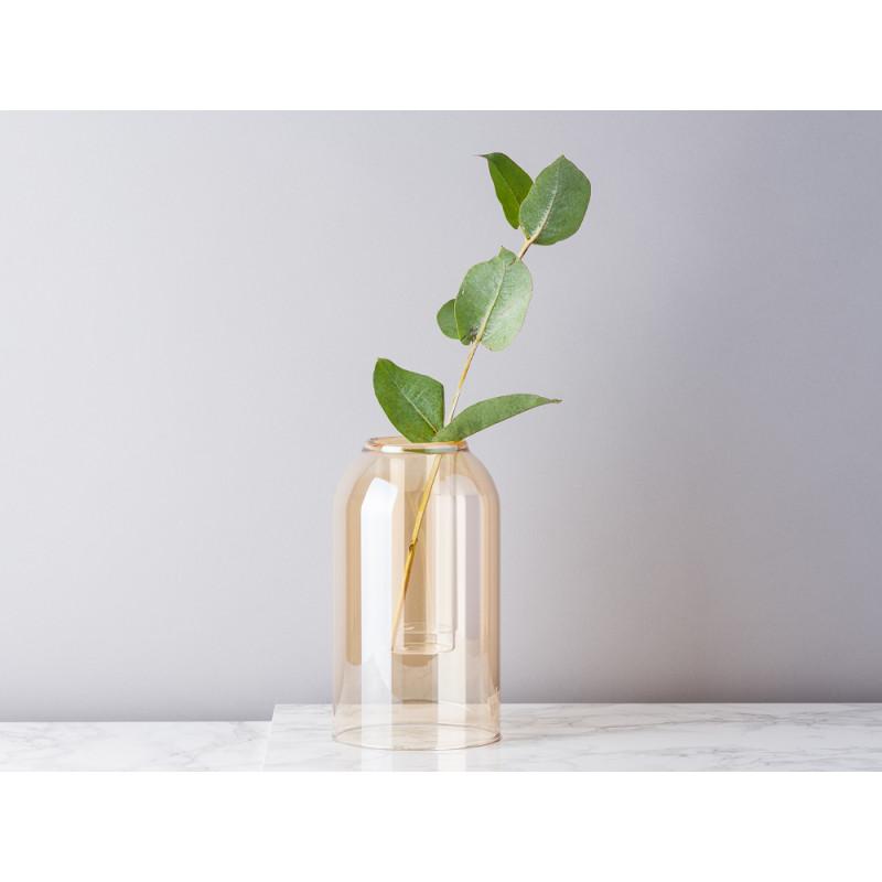 Bloomingville Vase Glas Dom braun beige 23 cm hoch Blumenvase Glas im Glas Top Modern mit Eukalyptus Zweig