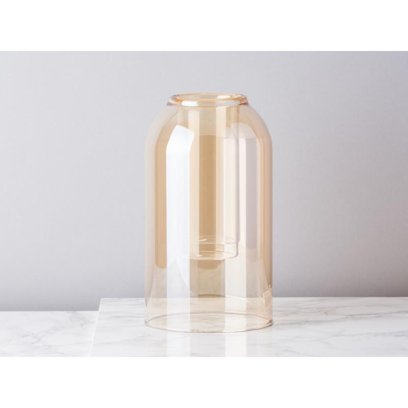Bloomingville Vase Glas Dom braun beige 23 cm hoch Blumenvase Glas im Glas Top Modern