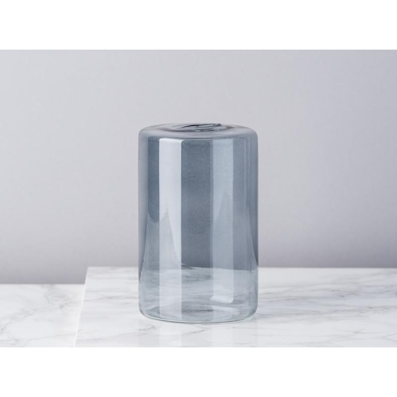 Bloomingville Vase Glas Grau Blumenvase Zylinder 13 cm hoch Durchmesser 8 cm rund Design Modern