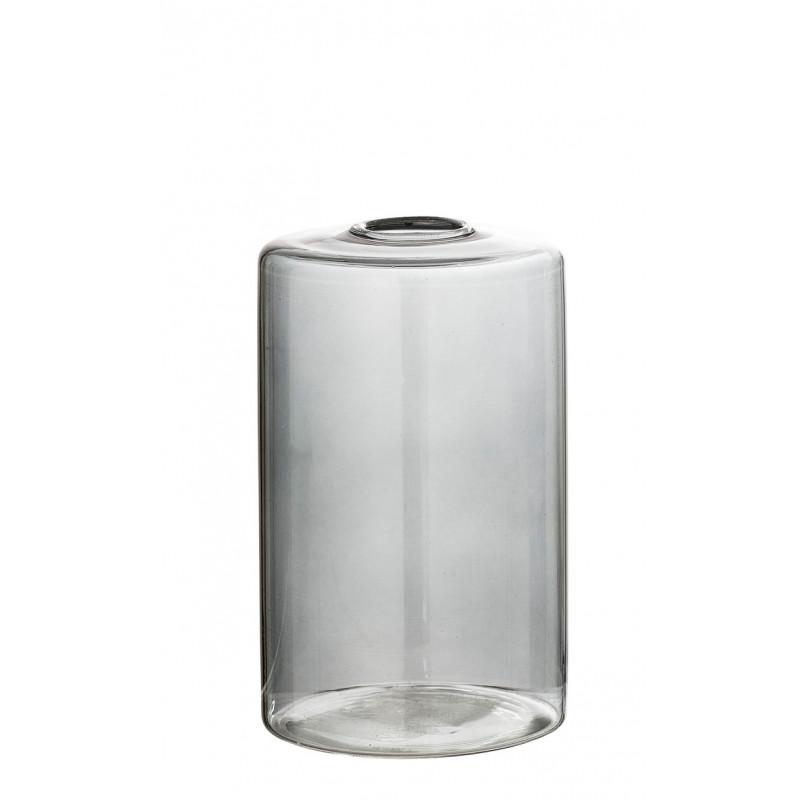 Bloomingville Vase Glas Grau Blumenvase Zylinder Form 13 cm hoch Durchmesser 8 cm Tischdekoration Detail