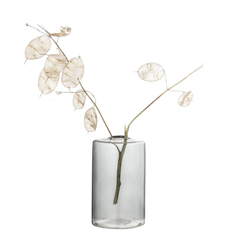 Bloomingville Vase Glas Grau Blumenvase Zylinder Form 13 cm hoch Durchmesser 8 cm Tischdekoration