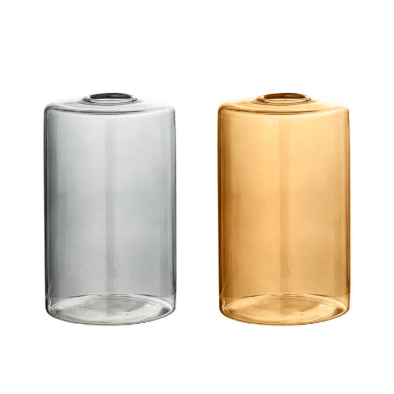 Bloomingville Vase Glas Grau und Braun Blumenvase Zylinder Form 13 cm hoch Durchmesser 8 cm rund