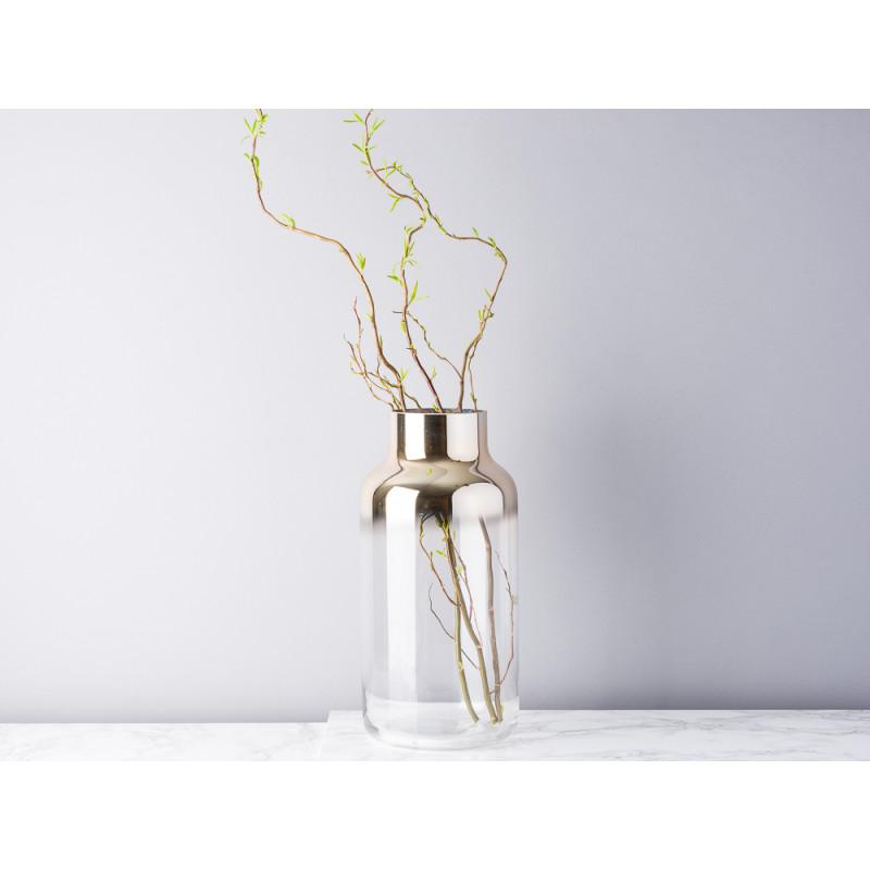 Bloomingville Vase Glas groß gold transparent Verlauf Blumenvase 35 cm hoch