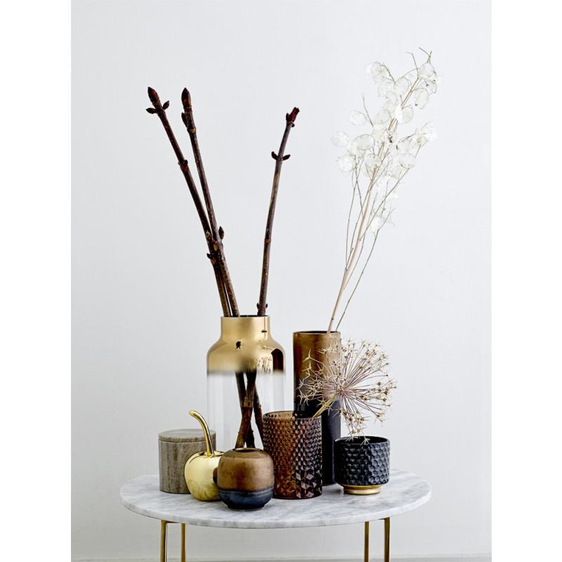 Bloomingville Vase Glas gross 2 farbig gold transparent Blumenvase elegant moder Design